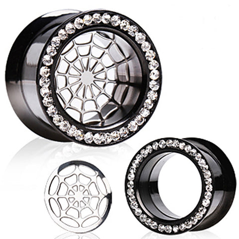 "Titanium Anodized Flesh Tunnel Spider Web Ear Plug with CZs - 9/16"" - Sold as a Pair"