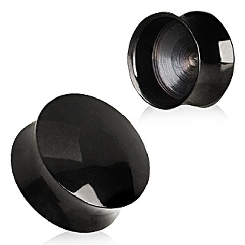 "Black PVD Plated Convex Hollow Saddle Plug - 1"" - Sold as a Pair"