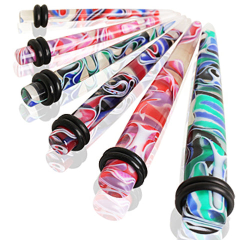 UV Acrylic Multi Color Marble Taper - 14GA Purple/Pink - Sold as a Pair