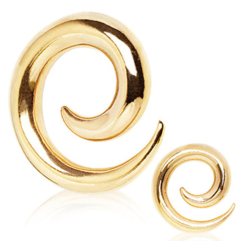 Gold Plated 316L Surgical Steel Spiral Taper - 2GA Gold Colored - Sold as a Pair