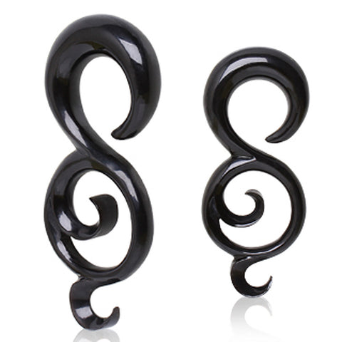 "Buffalo Horn Taper with Tailed ""8"" Shape - 4GA - Sold as a Pair"