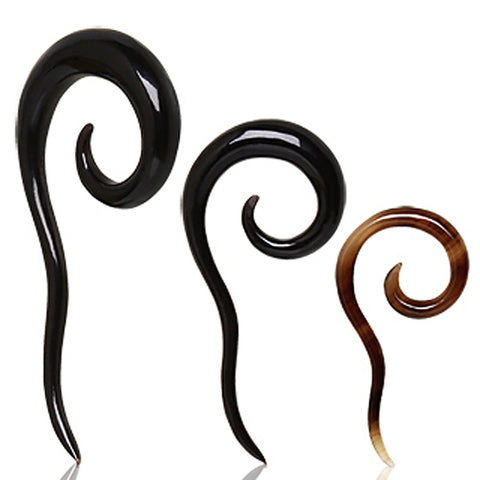 Spiral Buffalo Horn Taper with Tail - 10GA - Sold as a Pair