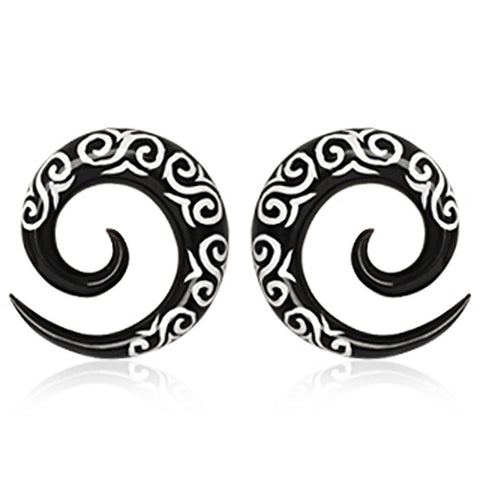 Pair of Buffalo Horn Spiral Taper with Tribal Logo - 0GA - Sold as a Pair