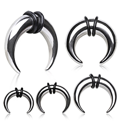 316L Surgical Steel Buffalo Horn Shaped Taper - 2GA - Sold as a Pair