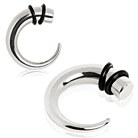 316L Surgical Steel Curved Taper with O-Ring - 0GA - Sold as a Pair