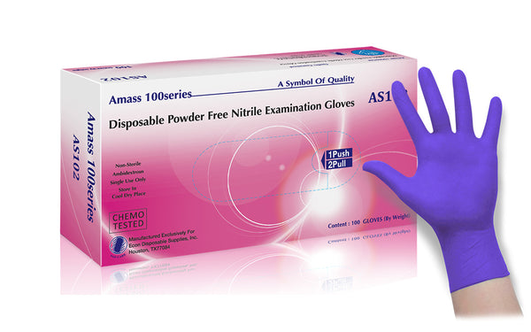 AMASS® Powder Free Nitrile Medical Examination Gloves (Case of 1,000) - 4.0 Mil