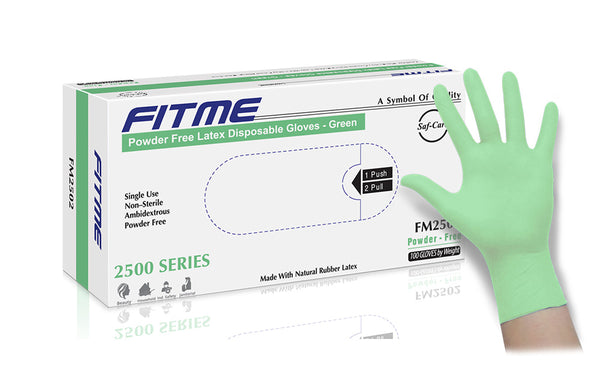 FITME Green Powder Free Latex Gloves (Case of 1,000) - 6.2 Mil
