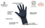 EnSure® Black Low Dermatitis Potential Fentanyl Resistant Medical Examination Nitrile Gloves Extended Cuff (Case of 1,000) - 5.5 Mil