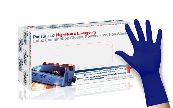 PureShield™ Long Cuff High Risk Examination Latex Gloves, Heavy Duty (Case of 500)- 13 mil