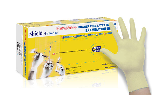 Shield+® Powder Free Latex Examination Gloves (Case of 1,000) - 6.0 Mil