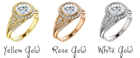 Yellow, rose and white gold