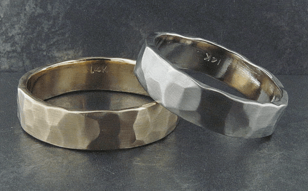 Hand Hammered 5mm Bands in 14K White, Yellow or Rose Gold