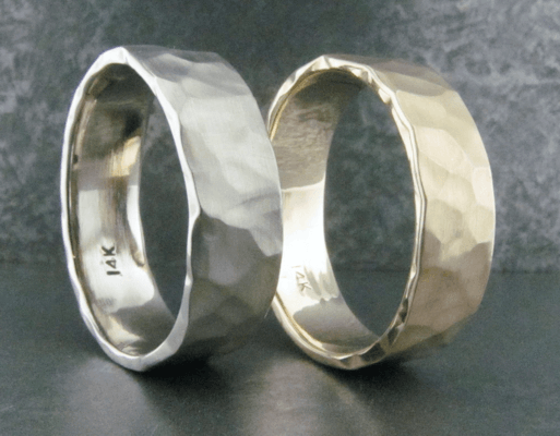 Hand Made Hammered Gold Bands