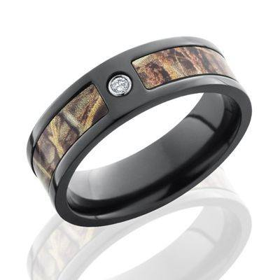 Zirconium Camo Wedding Band with Max4 Camo Inlay and a .05 ct Diamond
