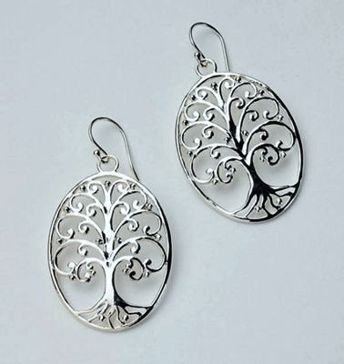 "Sterling Silver ""Tree of Life"" Oval Earrings in 2 Sizes"