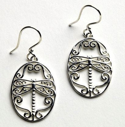 Southern Gates Dragonfly Earrings in Sterling Silver