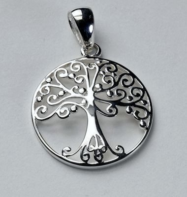 "Round Tree of Life Pendant in Sterling Silver from ""Southern Gates""."