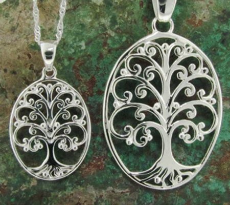 "Sterling Silver ""Tree of Life"" Oval Pendant in 2 Sizes"