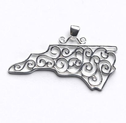 Southern Gates North Carolina Pendant in Sterling Silver
