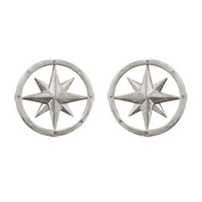 Sterling Silver Compass Rose Earrings in Post Style.