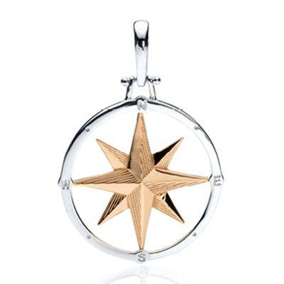 Compass Rose Design 2-Tone Gold and Silver Pendant