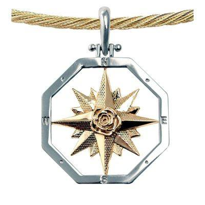 Compass Rose Pendant in Sterling Silver & 14K Gold Mix.