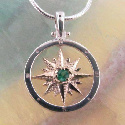Compass Rose Pendant with Emerald from The Touch Jewelry collection.