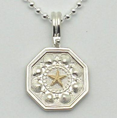 Sailors Valentine Necklace in Sterling Silver with 14K Gold Starfish.