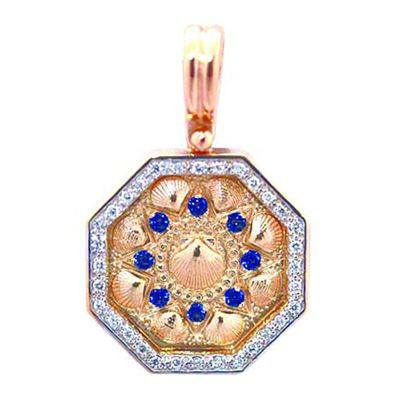 Sailors Valentine Gold Pendant with Diamonds and Sapphires