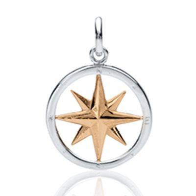 Compass Rose Design 2-Tone Gold and Silver Pendants