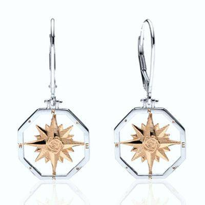 Compass Rose earrings in two tone Sterling Silver and 14K Gold.
