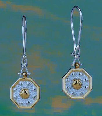 "Sailors Valentines Earrings with ""Shackle"" Style Dangle Ear Wires in gold and silver mix"