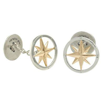 Compass Rose Cufflinks in Two-Tone.