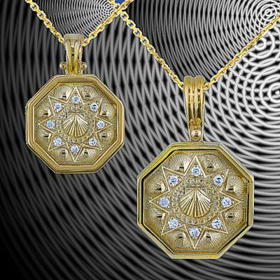 Sailors Valentine Pendants in 14K Gold with Diamonds