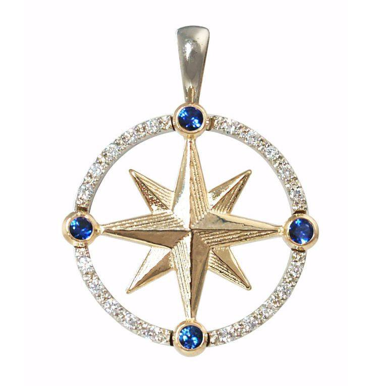 Compass Rose Pendants in 2-Tone Gold with Sapphire and Diamond.