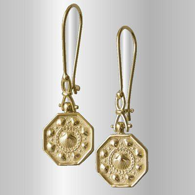 "Sailors Valentines Earrings with ""Shackle"" Style Dangle Ear Wires 14K Gold"