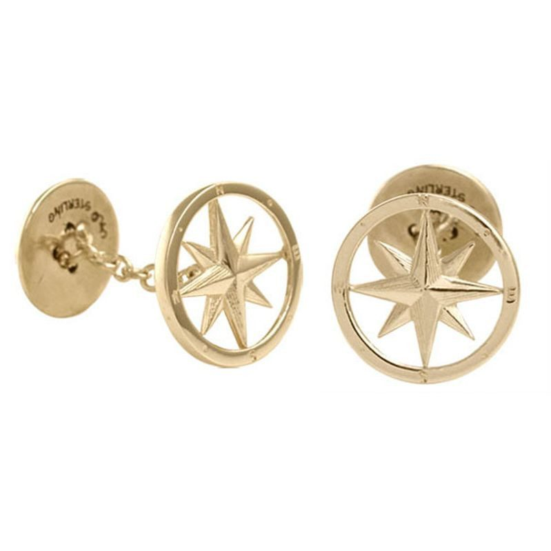 Compass Rose Cufflinks in Gold.