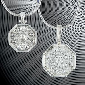 Sterling Silver Sailors Valentine Pendants in 3 sizes.