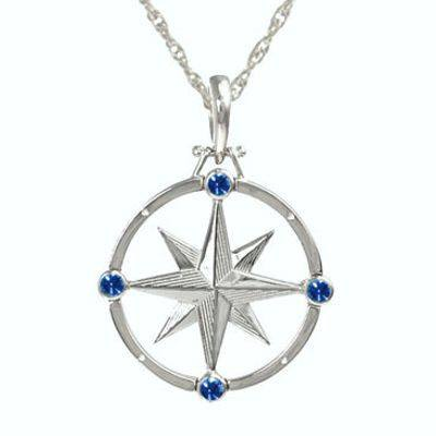 Compass Rose Necklaces with Sapphires in Silver or 14K Gold.