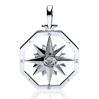 Compass Rose Jewelry.  Sterling Silver Pendants in 2 Sizes.