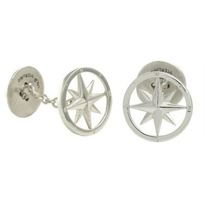 Compass Rose Cufflinks in Silver.