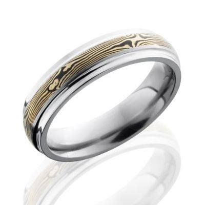 Titanium mens wedding bands with 14K white gold mokume inlay