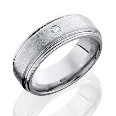 Lashbrook Cobalt Chrome Band with Stone Finish and Diamond