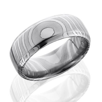 Damascus Steel Rings with a Tiger Striped Design.
