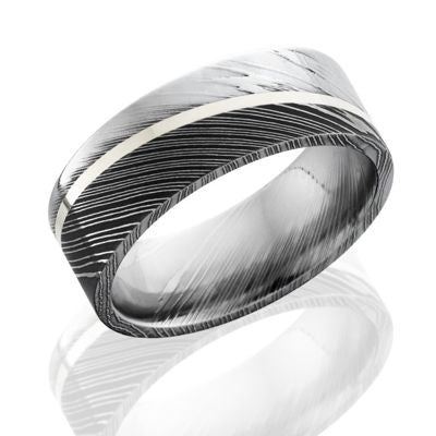 Damascus Rings with Sterling Silver Inlay