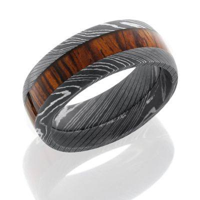 Damascus Steel and Wood Ring featuring Cocobollo Wood