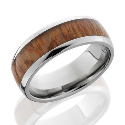 titanium rings with wood inlay