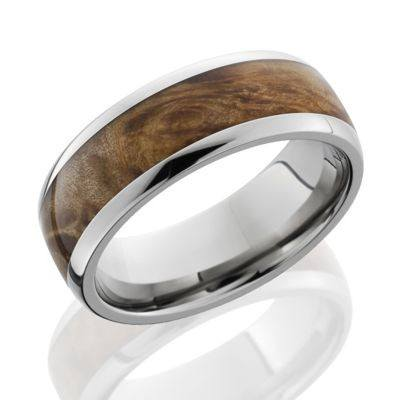 Titanium Wood Inlay Rings featuring Maple Burl Wood
