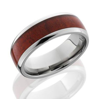"Titanium Wood Ring with ""Red Heart"" Wood Inlay"