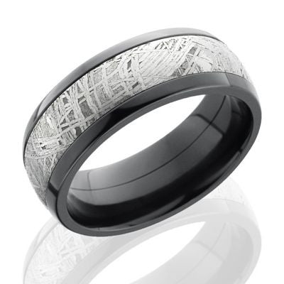 Zirconium Meteorite ring features an inlay of genuine meteorite.